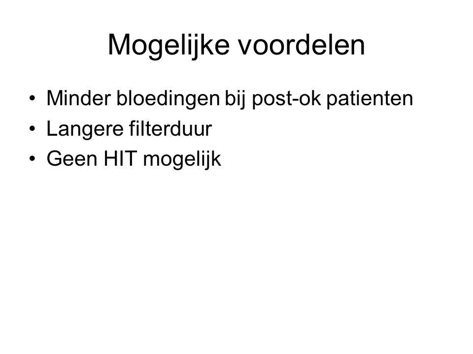 Mogelijke voordelen Minder bloedingen bij post-ok patienten