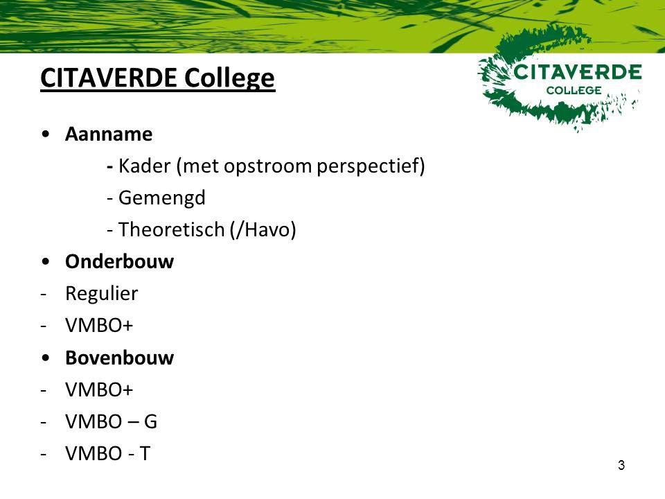 CITAVERDE College Aanname - Kader (met opstroom perspectief) - Gemengd