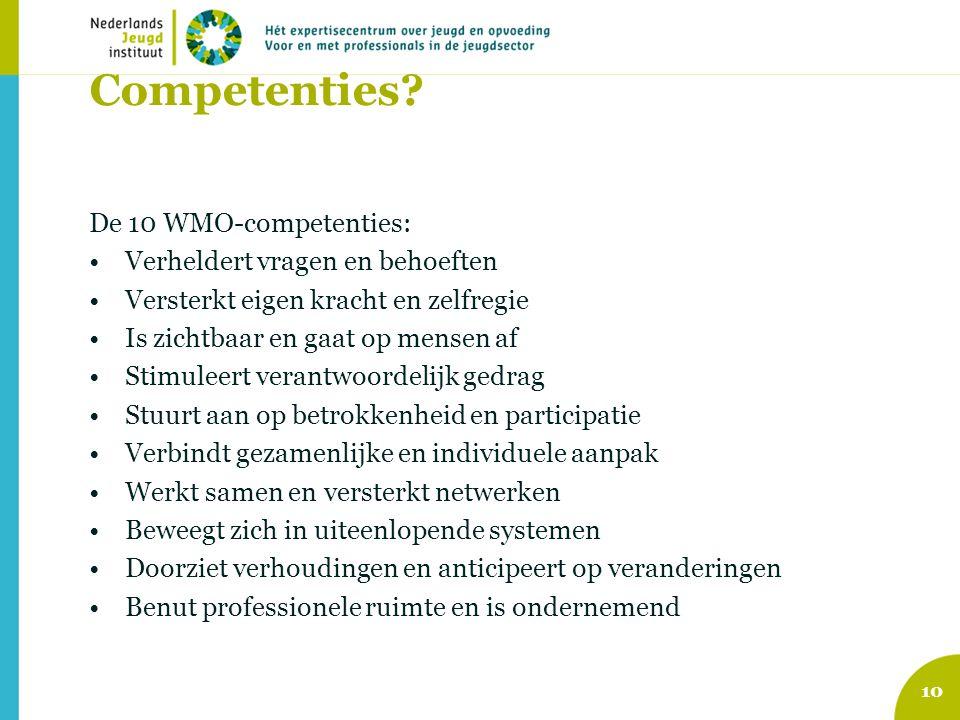 Competenties De 10 WMO-competenties: Verheldert vragen en behoeften