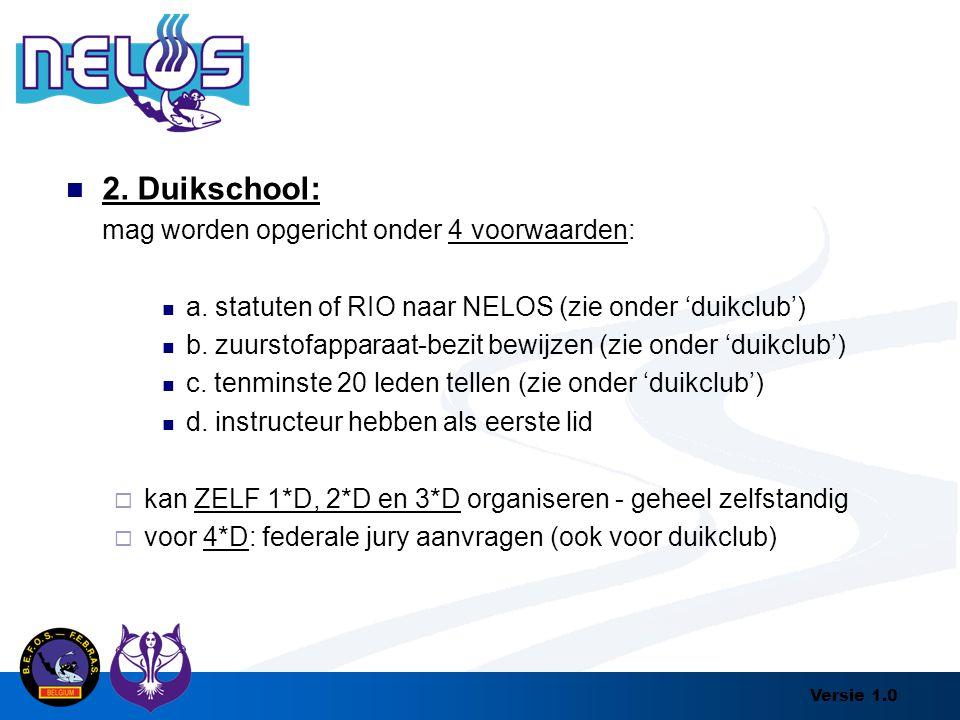 2. Duikschool: mag worden opgericht onder 4 voorwaarden: