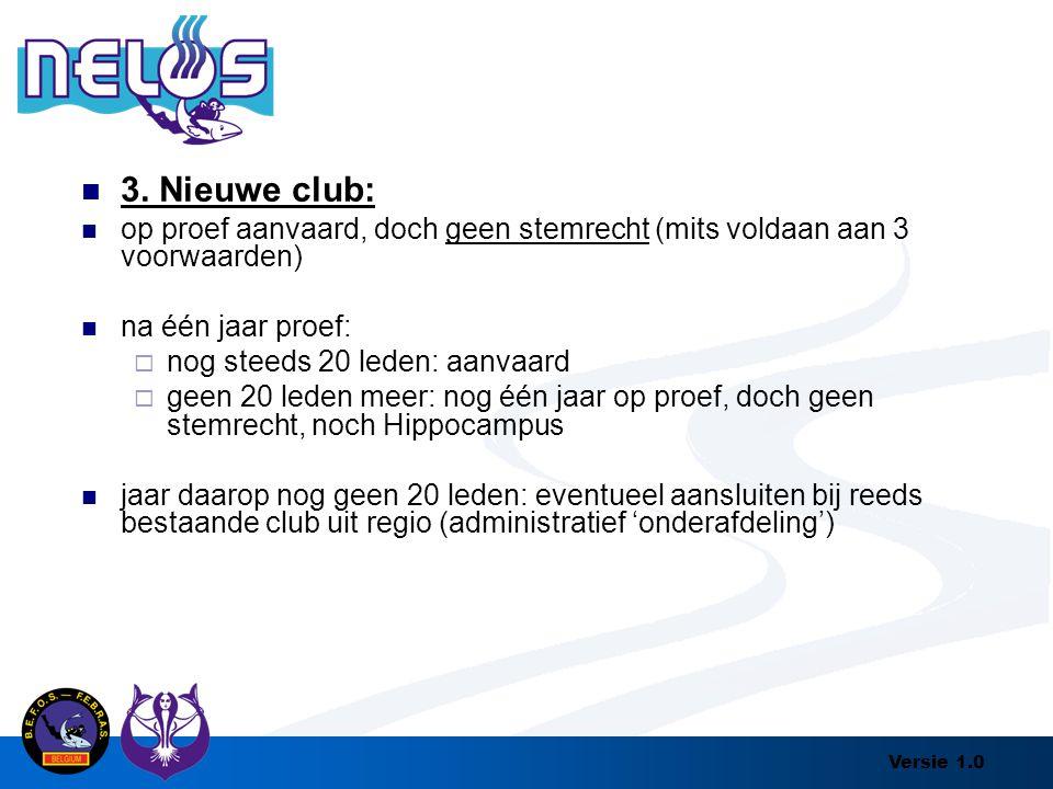 3. Nieuwe club: op proef aanvaard, doch geen stemrecht (mits voldaan aan 3 voorwaarden) na één jaar proef: