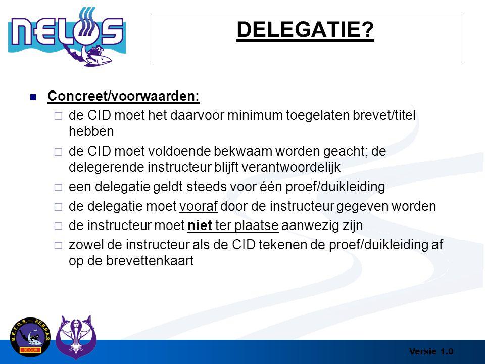 DELEGATIE Concreet/voorwaarden: