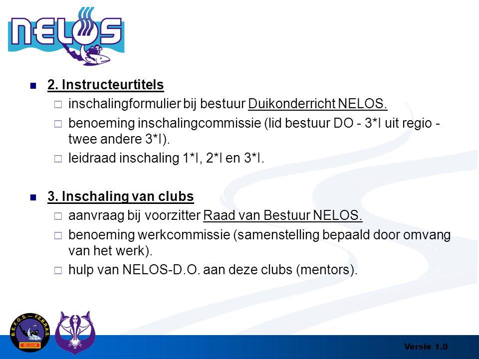 2. Instructeurtitels inschalingformulier bij bestuur Duikonderricht NELOS.