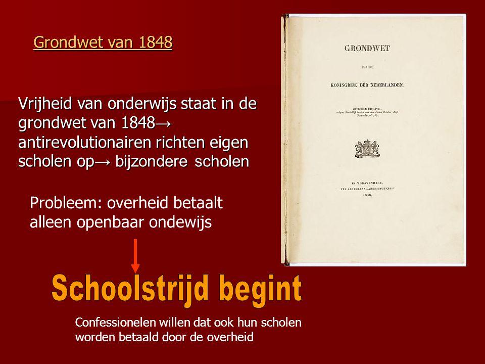Schoolstrijd begint Grondwet van 1848