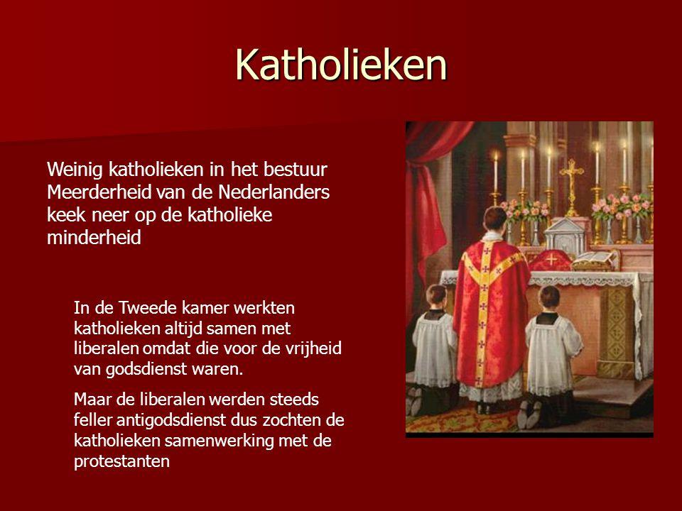 Katholieken Weinig katholieken in het bestuur Meerderheid van de Nederlanders keek neer op de katholieke minderheid.