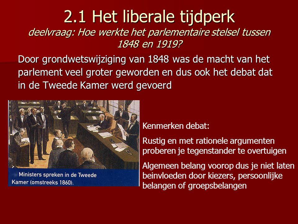 2.1 Het liberale tijdperk deelvraag: Hoe werkte het parlementaire stelsel tussen 1848 en 1919