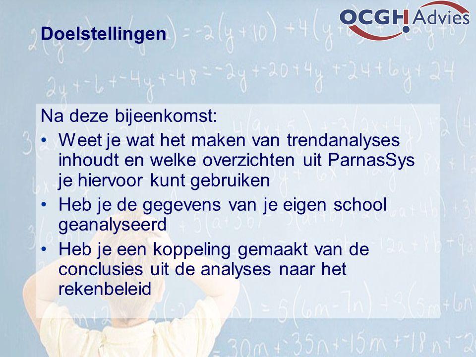 Doelstellingen Na deze bijeenkomst: Weet je wat het maken van trendanalyses inhoudt en welke overzichten uit ParnasSys je hiervoor kunt gebruiken.