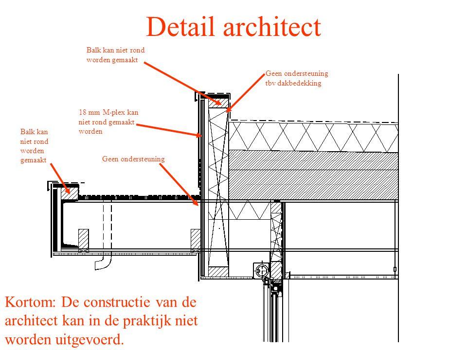 Detail architect Balk kan niet rond worden gemaakt. Geen ondersteuning tbv dakbedekking. 18 mm M-plex kan niet rond gemaakt worden.
