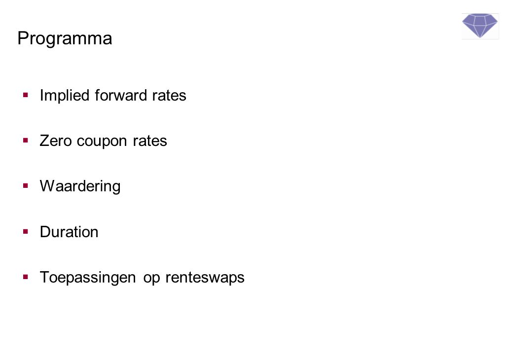 Programma Implied forward rates Zero coupon rates Waardering Duration