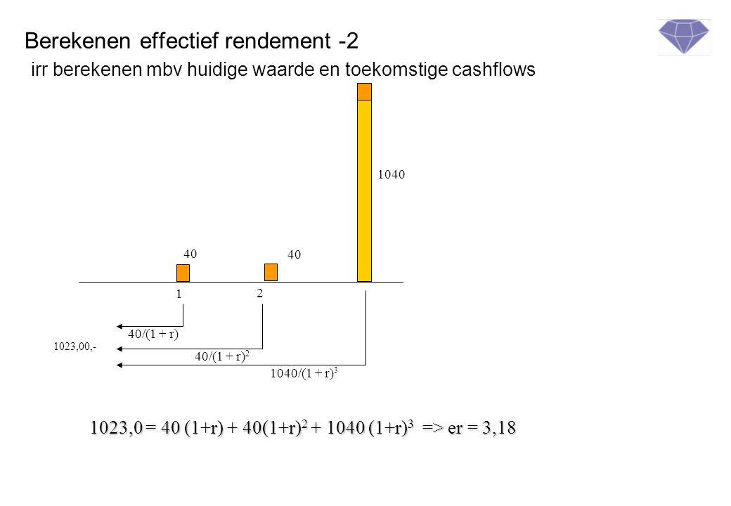 Berekenen effectief rendement -2 irr berekenen mbv huidige waarde en toekomstige cashflows