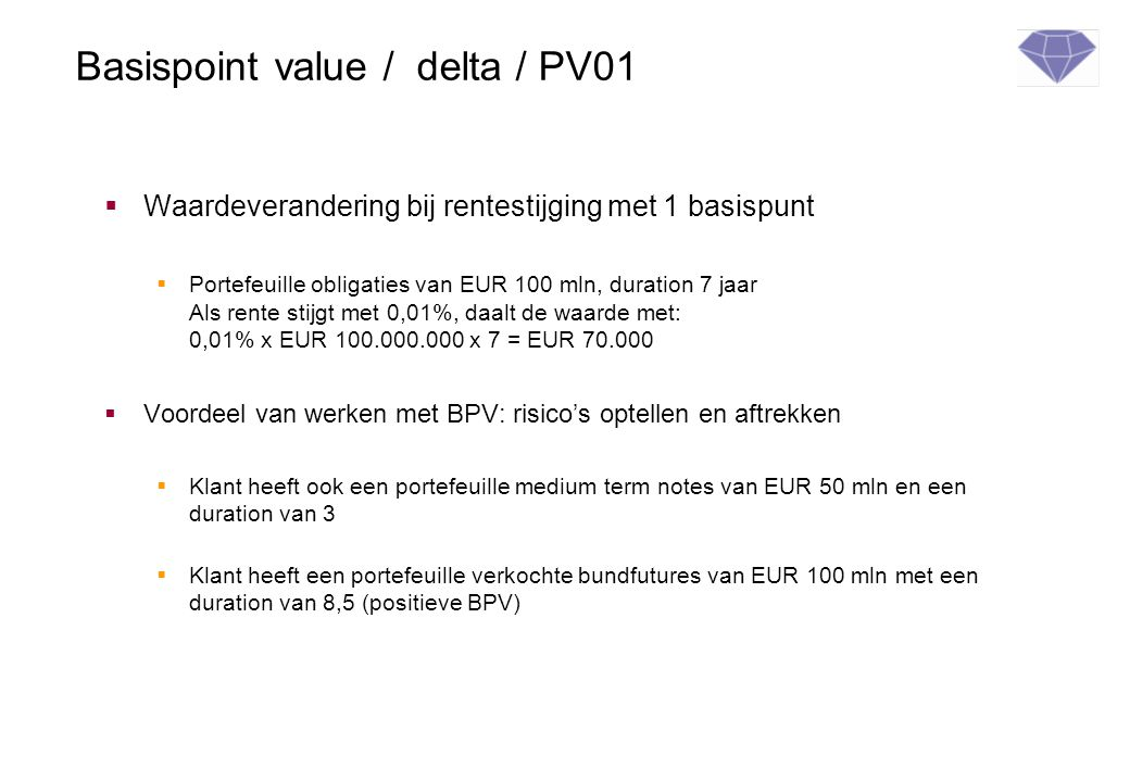 Basispoint value / delta / PV01