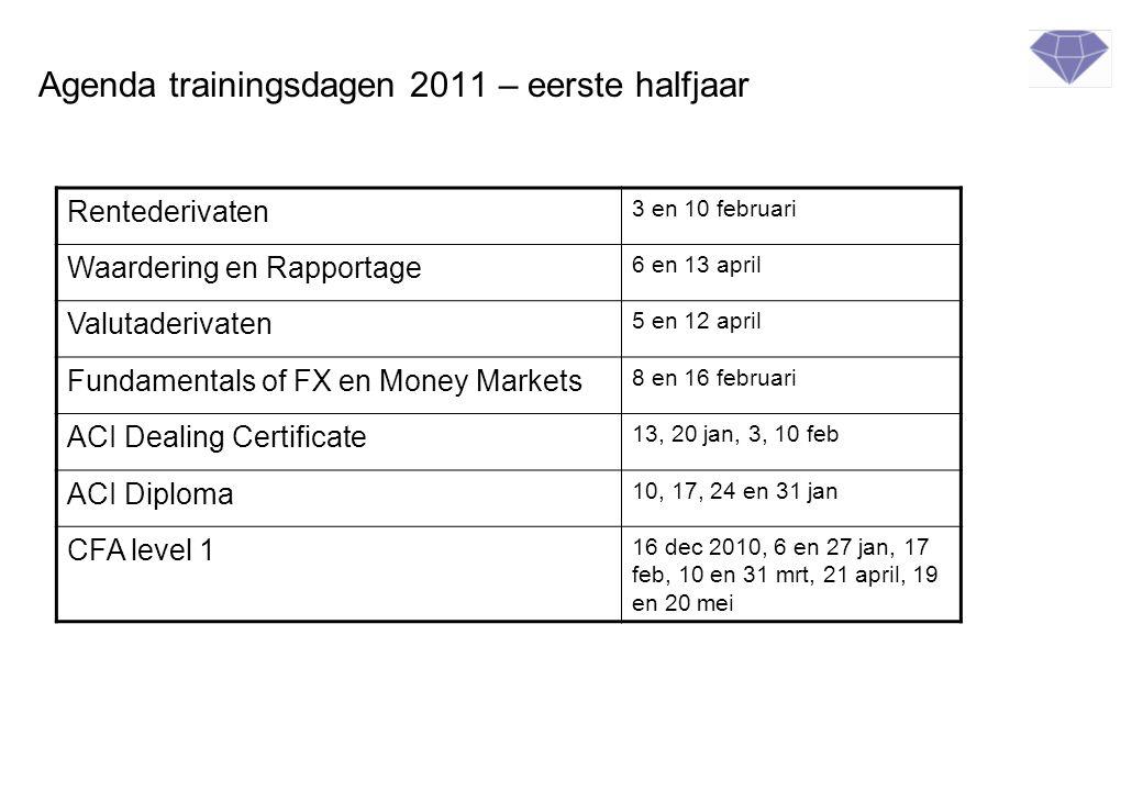 Agenda trainingsdagen 2011 – eerste halfjaar