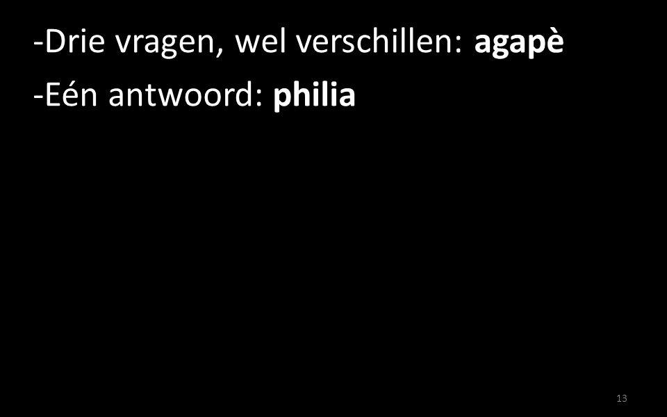 Drie vragen, wel verschillen: agapè Eén antwoord: philia