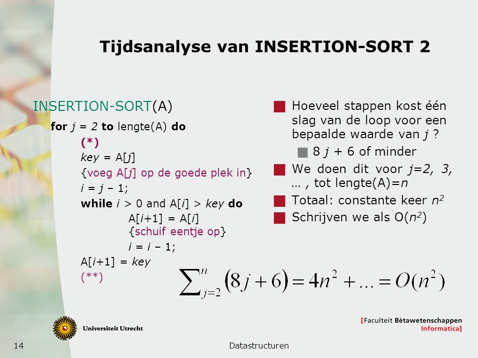 Tijdsanalyse van INSERTION-SORT 2