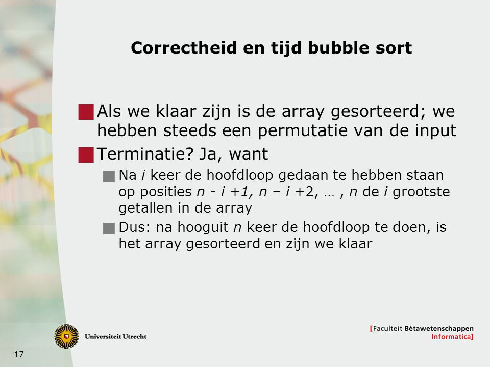 Correctheid en tijd bubble sort