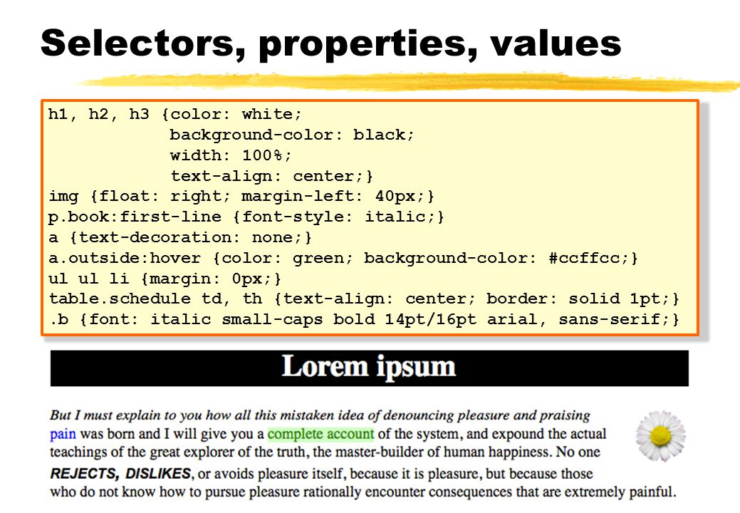 Selectors, properties, values