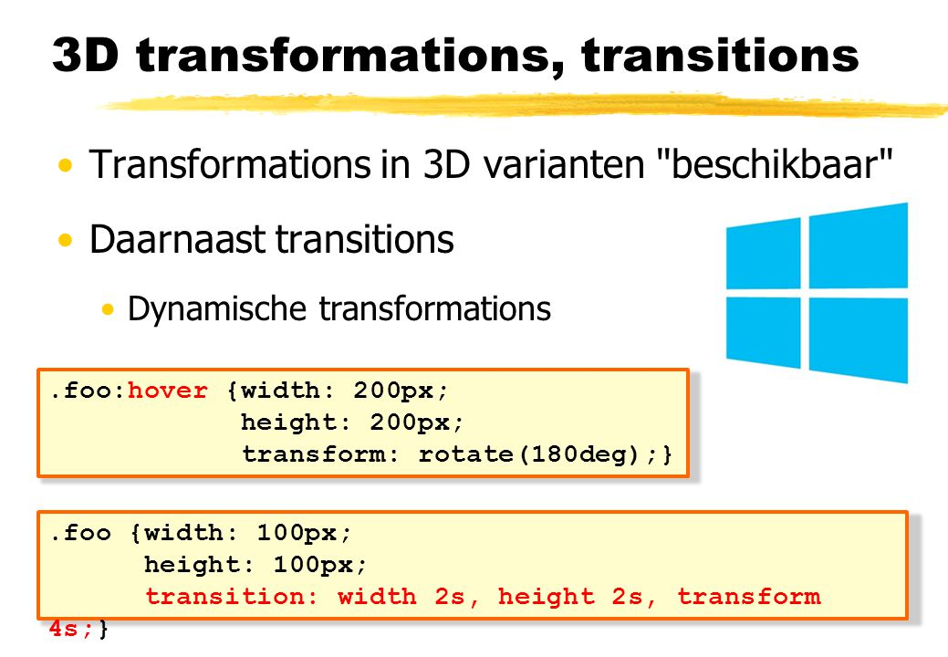 3D transformations, transitions