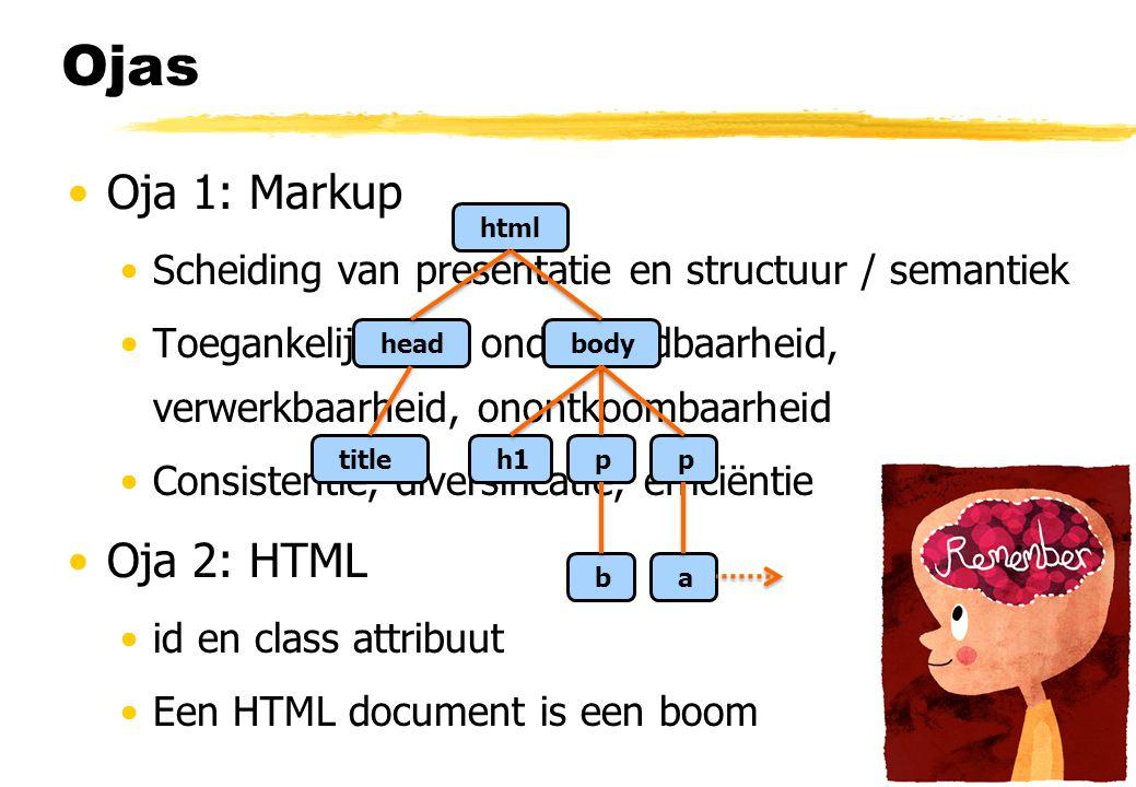 Ojas Oja 1: Markup Oja 2: HTML