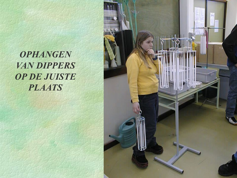 OPHANGEN VAN DIPPERS OP DE JUISTE PLAATS