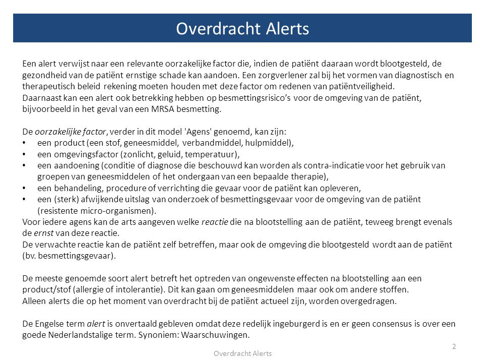 Overdracht Alerts