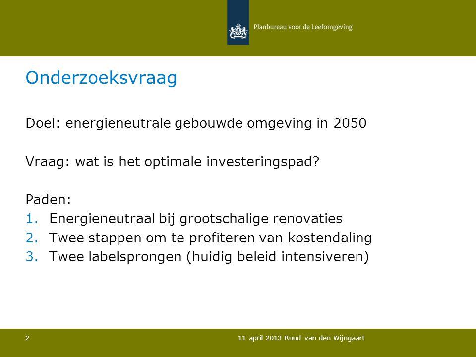 Onderzoeksvraag Doel: energieneutrale gebouwde omgeving in 2050