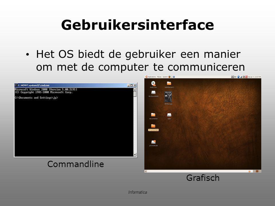 Gebruikersinterface Het OS biedt de gebruiker een manier om met de computer te communiceren. Commandline.