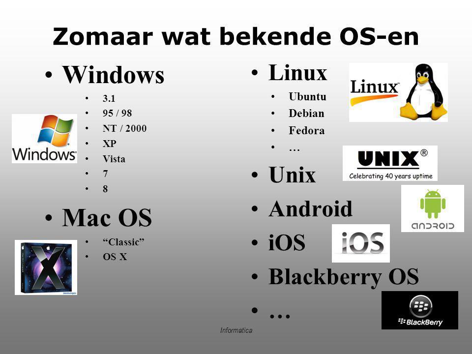 Zomaar wat bekende OS-en
