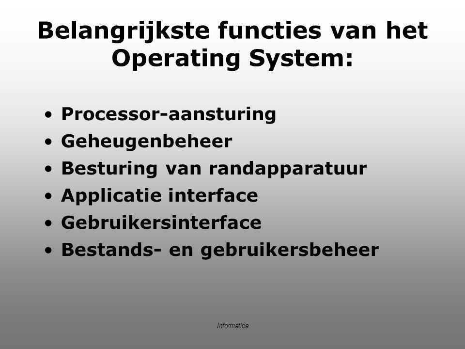 Belangrijkste functies van het Operating System: