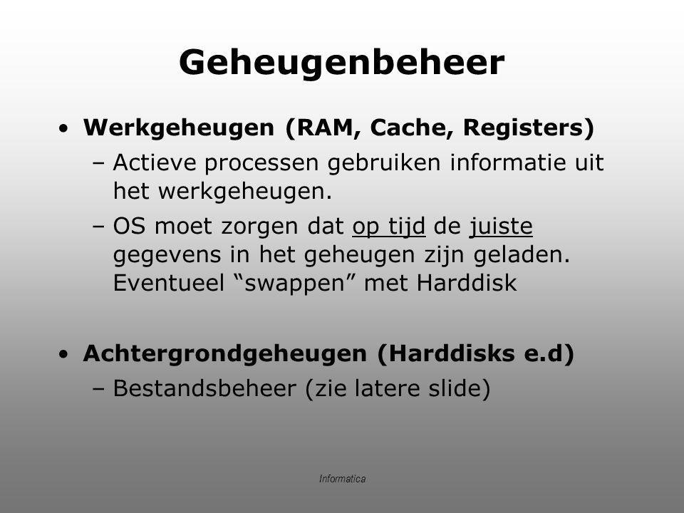 Geheugenbeheer Werkgeheugen (RAM, Cache, Registers)