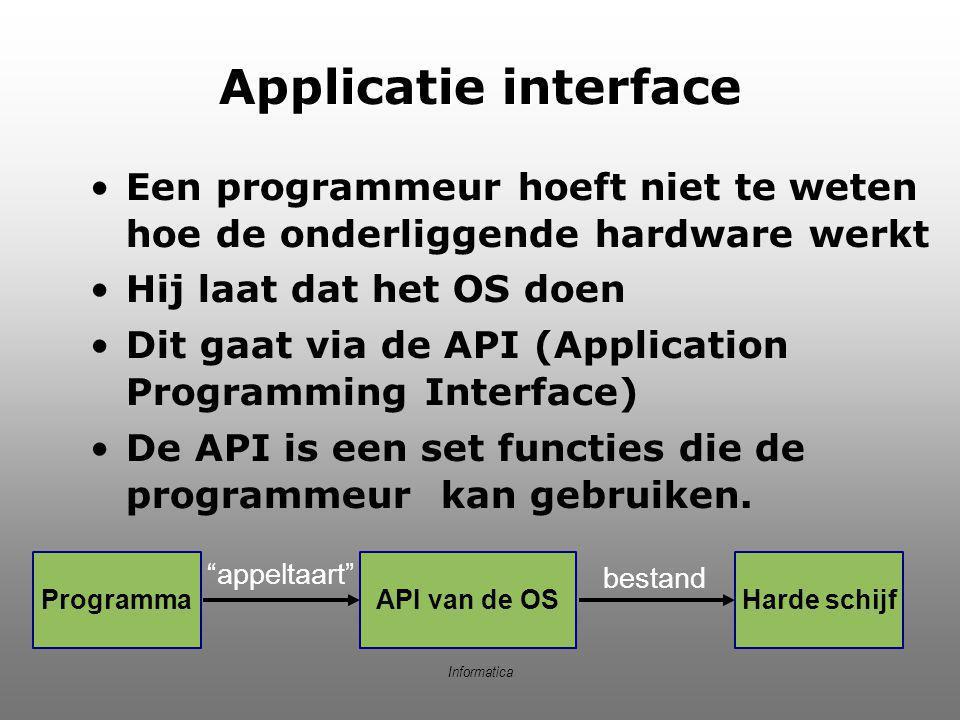 Applicatie interface Een programmeur hoeft niet te weten hoe de onderliggende hardware werkt. Hij laat dat het OS doen.