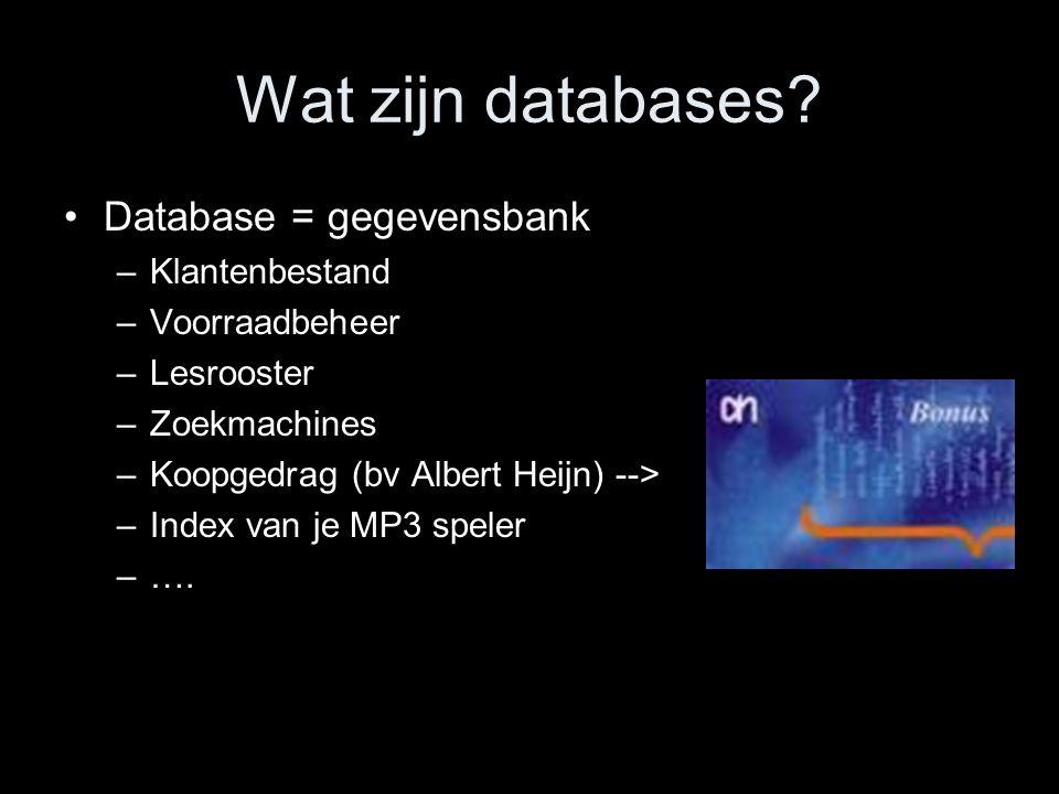 Wat zijn databases Database = gegevensbank Klantenbestand