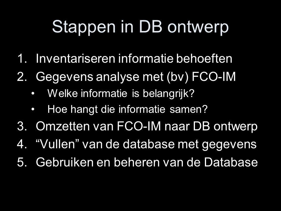 Stappen in DB ontwerp Inventariseren informatie behoeften