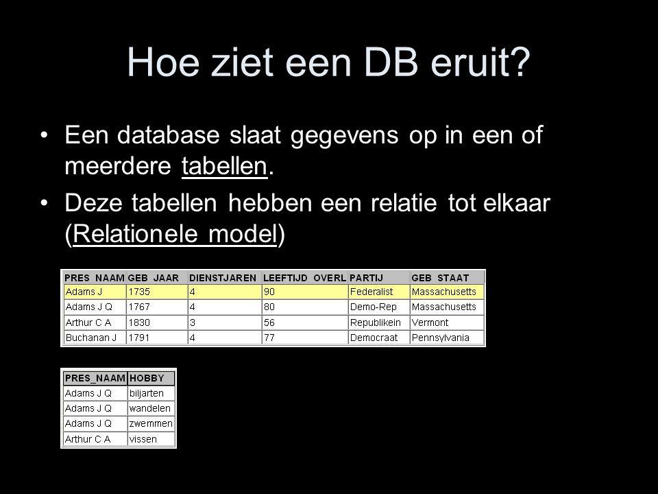 Hoe ziet een DB eruit. Een database slaat gegevens op in een of meerdere tabellen.