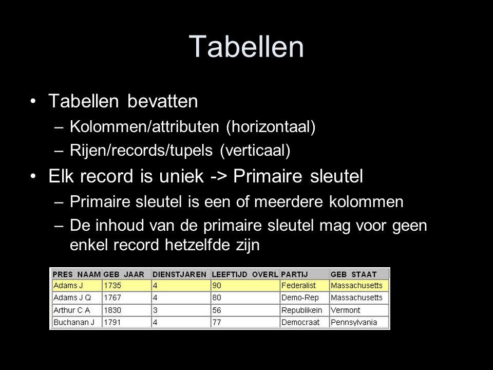 Tabellen Tabellen bevatten Elk record is uniek -> Primaire sleutel