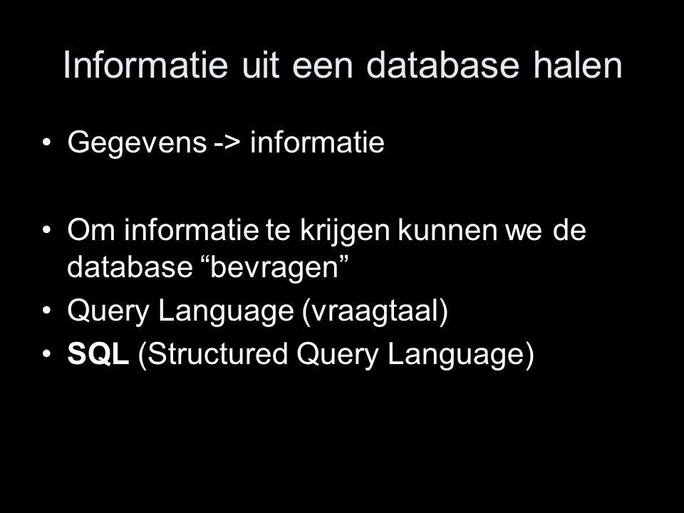 Informatie uit een database halen