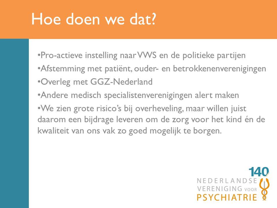 Hoe doen we dat Pro-actieve instelling naar VWS en de politieke partijen. Afstemming met patiënt, ouder- en betrokkenenverenigingen.