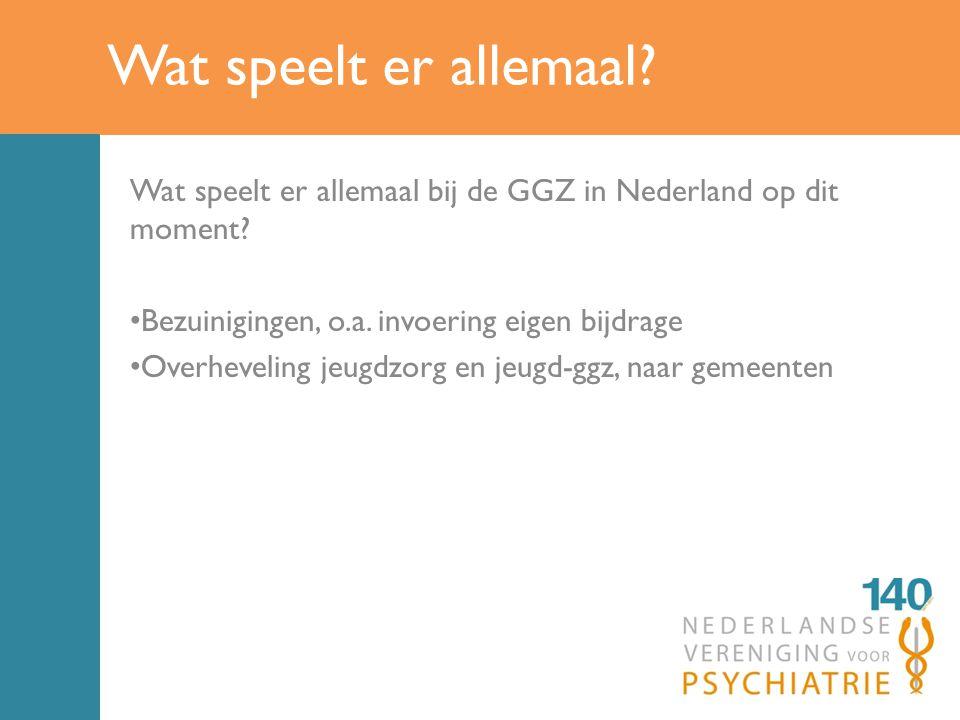 Wat speelt er allemaal Wat speelt er allemaal bij de GGZ in Nederland op dit moment Bezuinigingen, o.a. invoering eigen bijdrage.