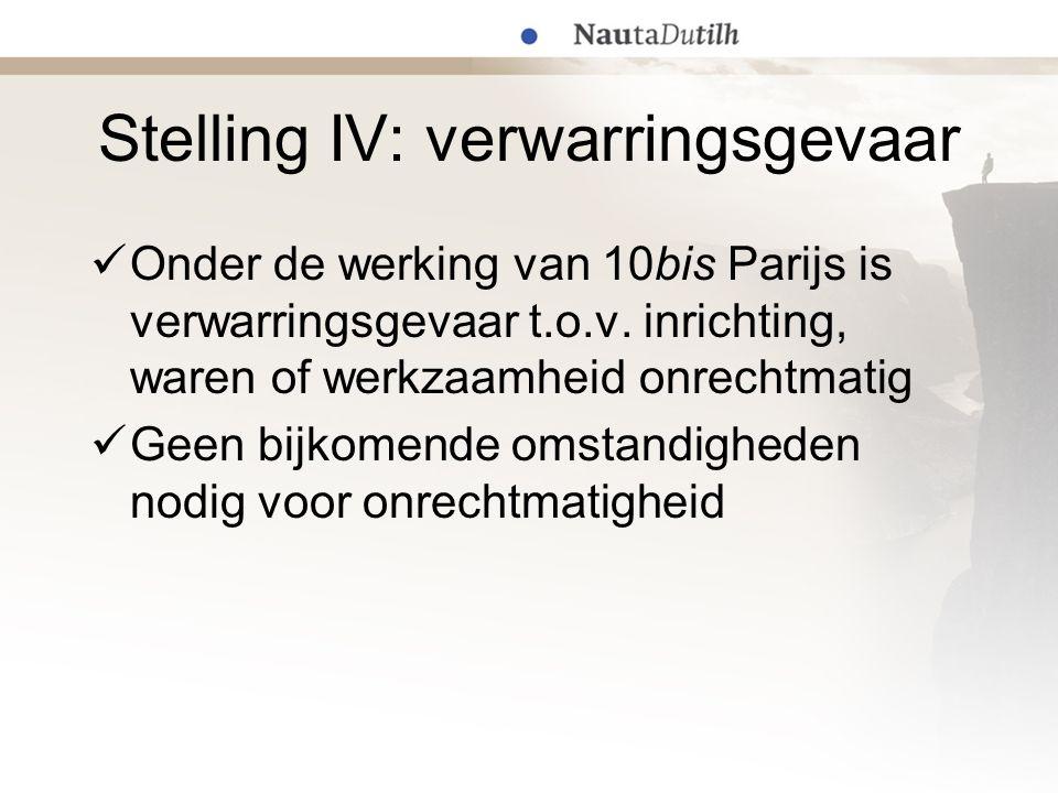 Stelling IV: verwarringsgevaar