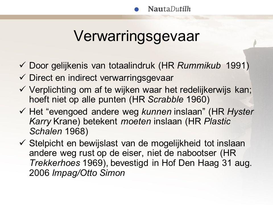 Verwarringsgevaar Door gelijkenis van totaalindruk (HR Rummikub 1991)