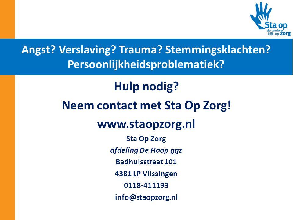 Neem contact met Sta Op Zorg!