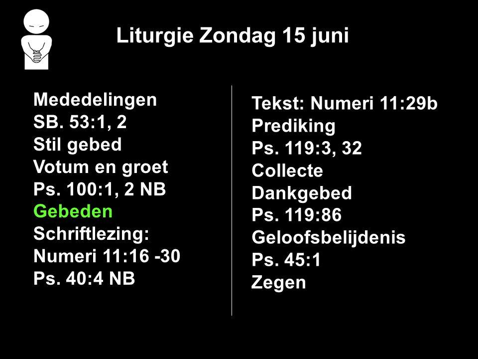 Liturgie Zondag 15 juni Mededelingen Tekst: Numeri 11:29b SB. 53:1, 2