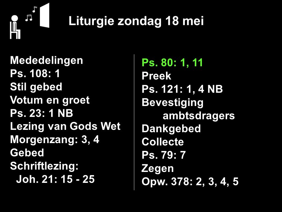Liturgie zondag 18 mei Mededelingen Ps. 80: 1, 11 Ps. 108: 1 Preek
