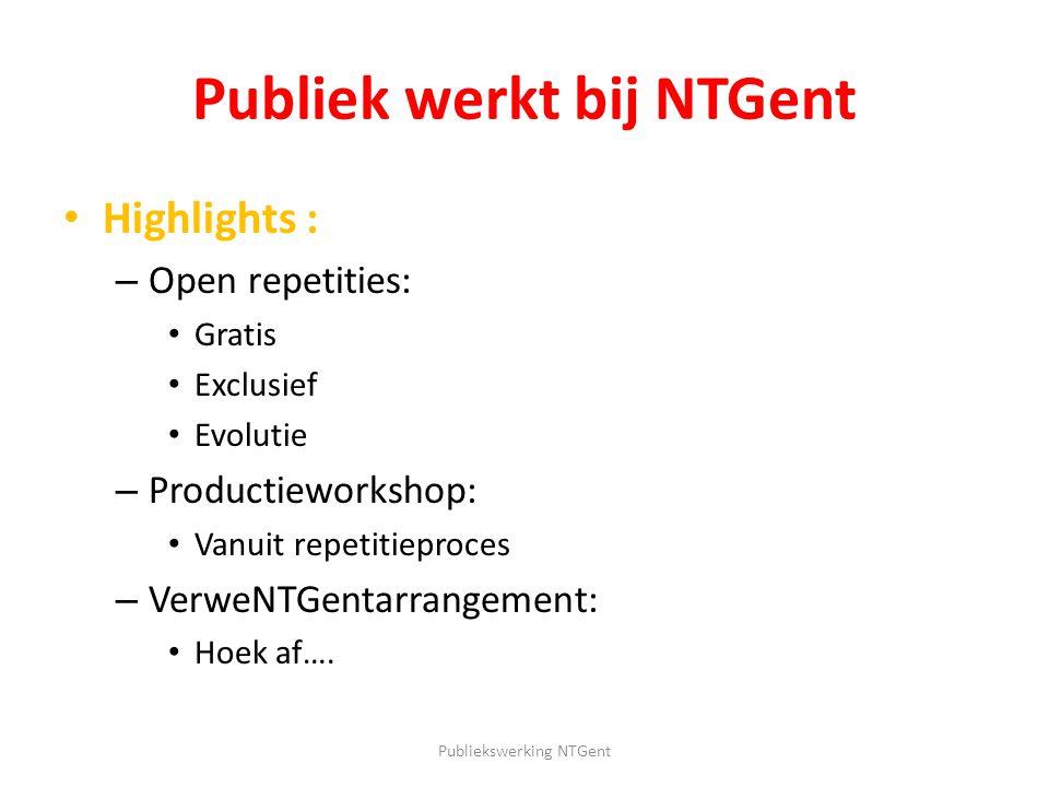 Publiek werkt bij NTGent