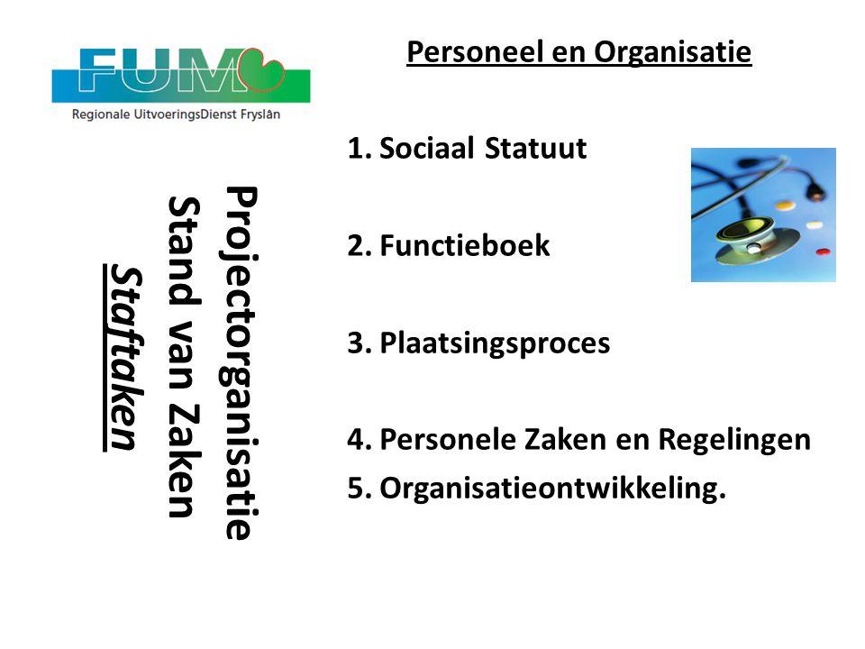 Personeel en Organisatie Projectorganisatie Stand van Zaken Staftaken