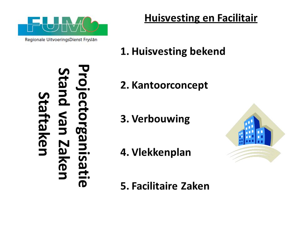 Huisvesting en Facilitair Projectorganisatie Stand van Zaken Staftaken