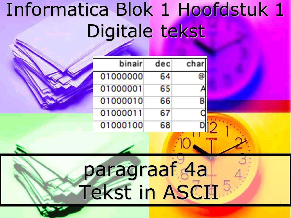 paragraaf 4a Tekst in ASCII