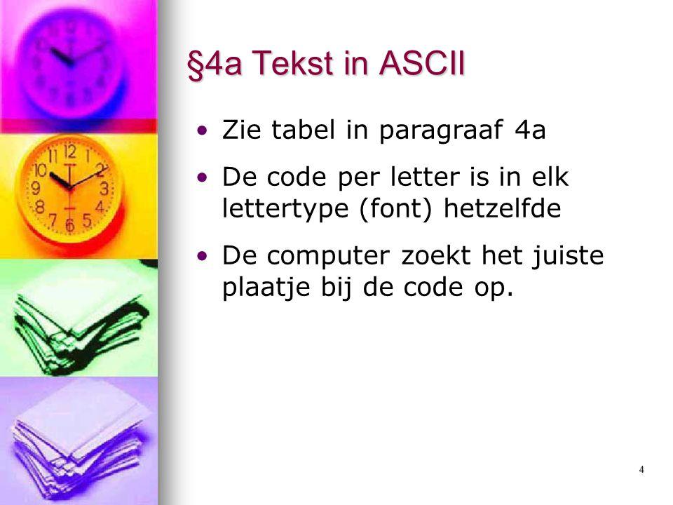 §4a Tekst in ASCII Zie tabel in paragraaf 4a
