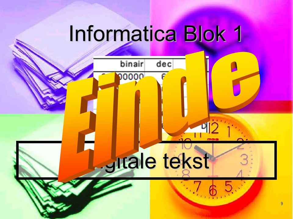 Informatica Blok 1 Einde Digitale tekst