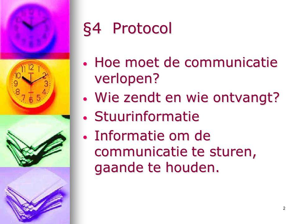 §4 Protocol Hoe moet de communicatie verlopen