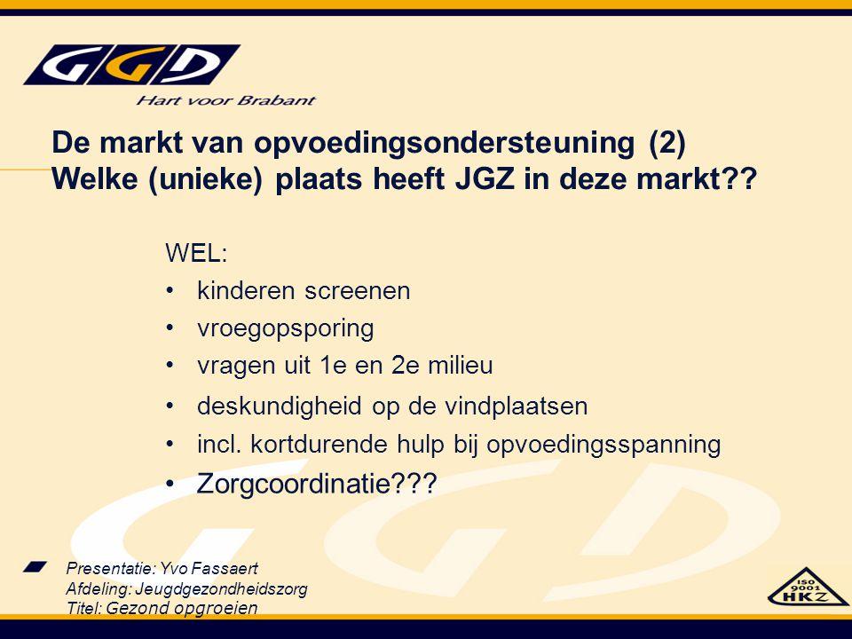 De markt van opvoedingsondersteuning (2) Welke (unieke) plaats heeft JGZ in deze markt